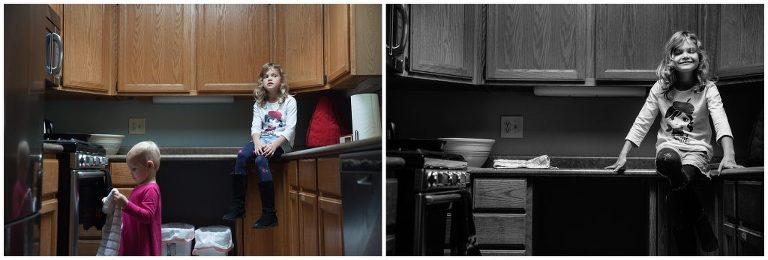 Kids hanging out at home for family photos