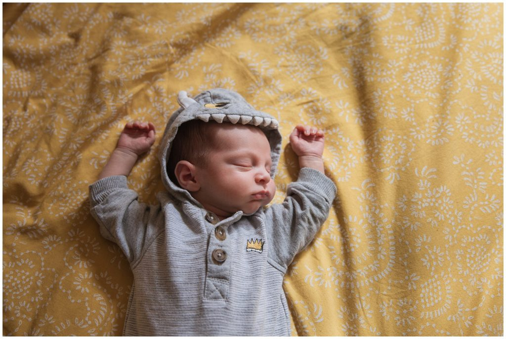 Newborn baby asleep during relaxed newborn photo session