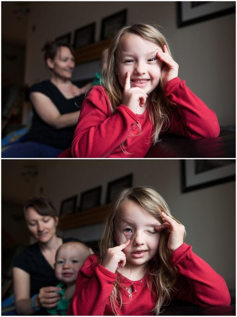 Being goofy during in- home family photo session