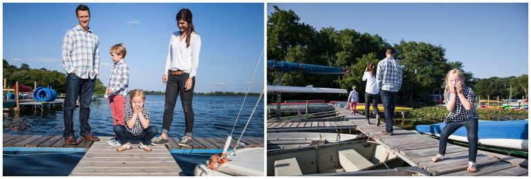Silly Faces and Boats in Family Photo Session