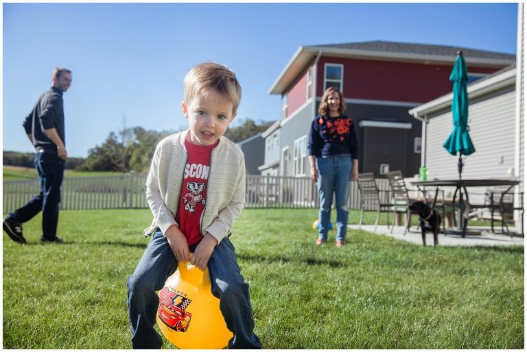 Playing in the backyard during family photo session
