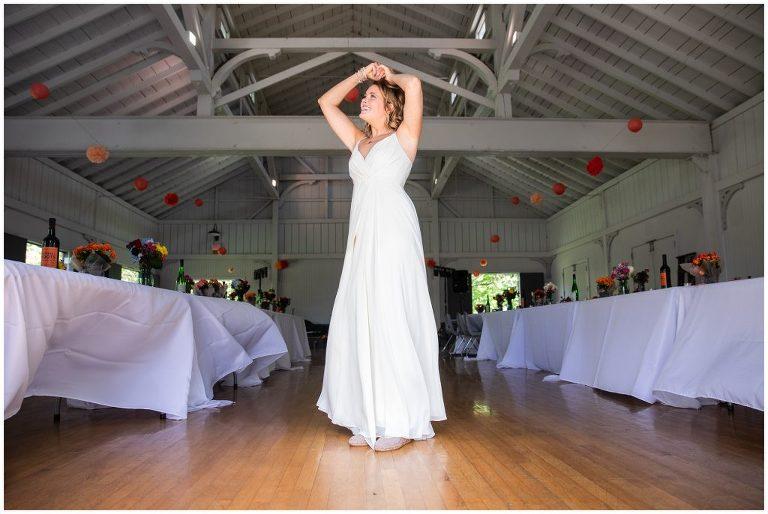 Bride preparing for park wedding in Madison WI