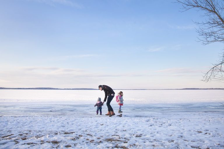 Walking on an icy Lake Mendota
