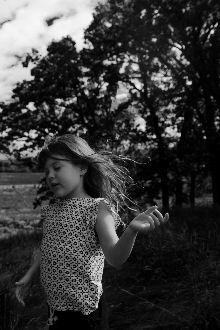 black and white portrait of little girl in Madison, WI